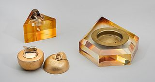Art Glass and Gold Plated Lighters