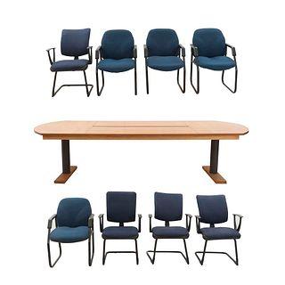 Mesa de juntas y 8 sillones. SXXI. Diferentes diseños. Elaboradas en MDF, material sintético y metal. 75 x 300 x 121 cm (mesa)