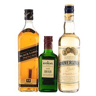 Whisky y Aguardiente. a) Bommerlunder. b) Johnnie Walker Black Label. c) Mc. Andrew's.