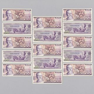 Lote de 15 billetes de 100 pesos consecutivos. Mexico, Ca. 1982. Sin circular Números de serie:  J4895946-J4895950 J012045.