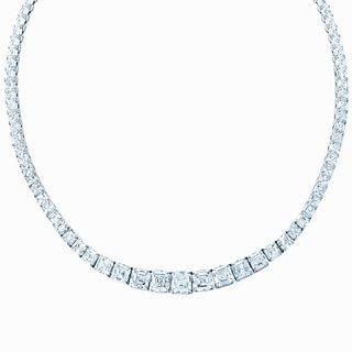 Magnificent 32.55CT ASSCHER CUT DIAMOND NECKLACE