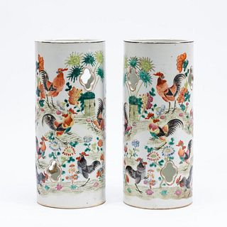 PAIR, CHINESE ROOSTER MOTIF PORCELAIN HAT STANDS