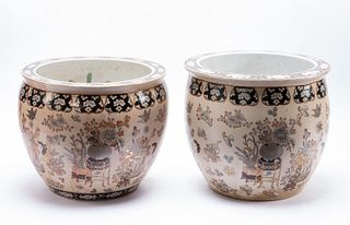 PAIR, CHINESE FLORAL PATTERNED FISHBOWL PLANTERS