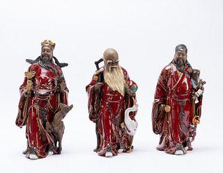 SET, THREE CHINESE SHIWAN SANG DE BOEUF IMMORTALS