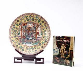 CHINESE FAMILLE ROSE CHARGER ON STAND WITH BOOK