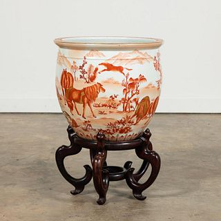 CHINESE RUST & WHITE HORSES FISH BOWL ON STAND