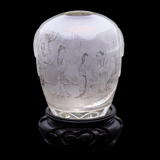 CHINESE REVERSE PAINTED SMALL VASE ON STAND