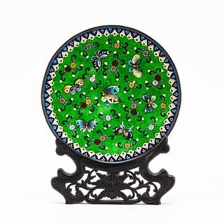 CHINESE CLOISONNE GREEN BUTTERFLY PLATE ON STAND
