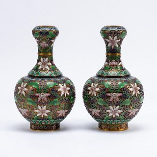 PAIR, CHINESE CLOISONNE LOTUS SUANTOUPING VASES