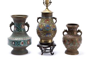 3 PCS, ASIAN CLOISONNE URNS, ONE MOUNTED AS LAMP