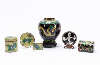 GROUP CHINESE CLOISONNE ASSORTED TABLEWARES