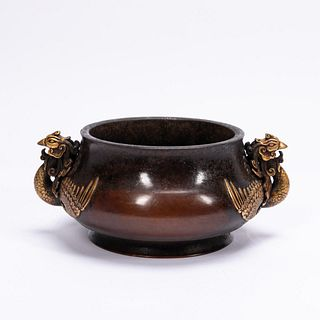CHINESE HEAVY TWO-TONED BRONZE HANDLED BOWL