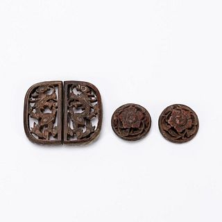 FOUR PCS, CHINESE WOOD & SILVER ACCESSORIES