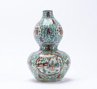 CHINESE WUCAI DOUBLE GOURD PORCELAIN VASE