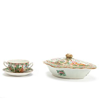 CHINESE ROSE MEDALLION CUP & COVERED VEGETABLE
