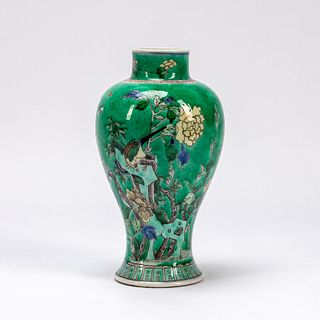 CHINESE TURQUOISE GLAZED FLORAL MEIPING VASE