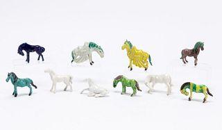 GROUP, 10 CHINESE EXPORT MINIATURE GLAZED HORSES