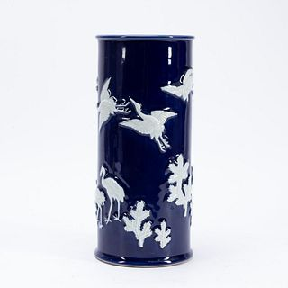 CHINESE COBALT VASE WITH WHITE CRANES & LEAVES