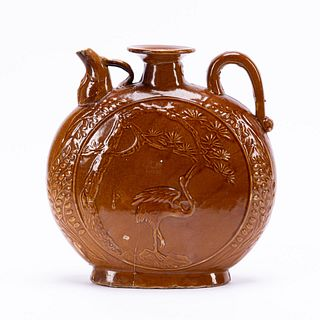 CHINESE YELLOW-BROWN GLAZED POTTERY WINE POT