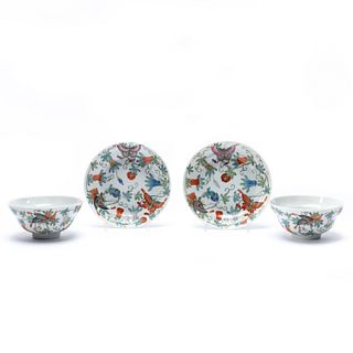 4PCS, PAIR CHINESE BUTTERFLY BOWLS AND UNDERPLATES