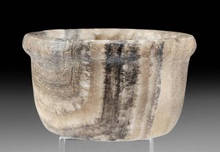 Egyptian Banded Alabaster Dish with Lipped Rim