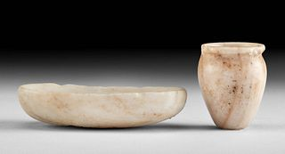 Two Egyptian Late Dynastic Alabaster Vessels