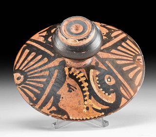 Greek Pottery Lekanis Lid w/ Red Figure Lady of Fashion