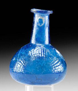 Roman Glass Unguentarium w/ Cobalt Hue