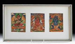 Framed Trio of 19th C. Tibetan Miniature Thangkas