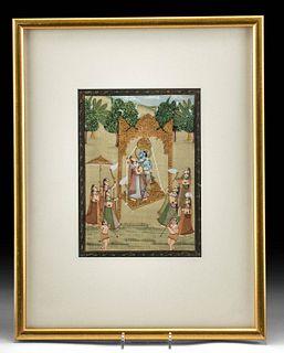 Framed Antique Indian Painting - Radha & Krishna