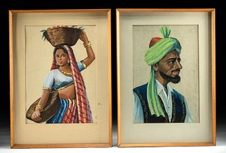 Pair of Vintage Indian Portrait Paintings - Man & Woman