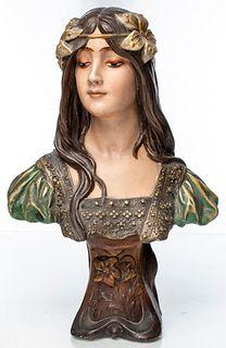 Art Nouveau Bust of a Maiden
