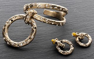 Chanel Gold-Tone & Faux Gemstone Cuff & Earrings