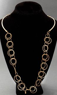 Italian 18K Yellow Gold Curved Bar Link Necklace