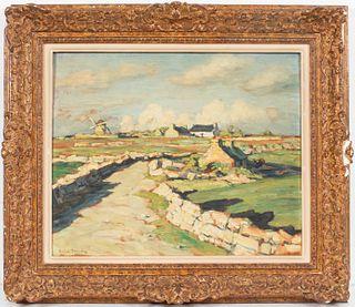 """Andre Dauchez """"Le Moulin De Pendreff"""" Oil On Panel"""