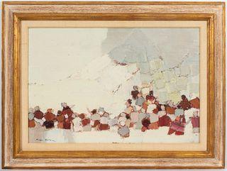 "Marek Halter ""Figures And Mountain"" Oil On Burlap"