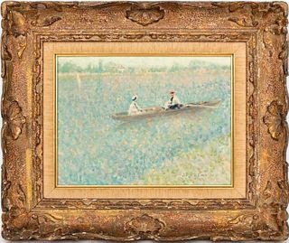 André Gisson Impressionist River Scene Oil