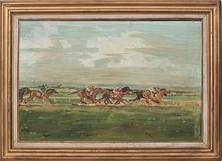 """Monika Teal """"Racetrack"""" Oil on Canvas"""