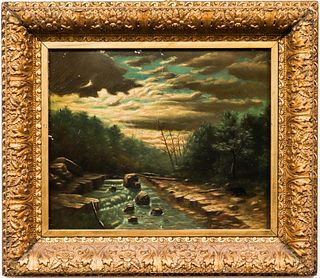 """Late 19th C. """"River at Dusk"""" Oil on Canvas"""
