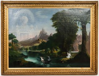 """After Thomas Cole """"Voyage of Life"""" Oil on Canvas"""