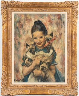 """Lillian Cotton """"Girl with Cats"""" Oil on Canvas"""
