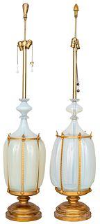 Monumental Italian Opalescent Glass Table Lamps Pr