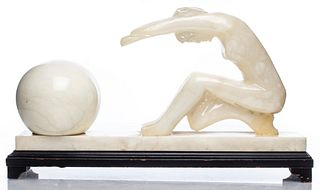 Art Deco Onyx & Alabaster Figural Desk Lamp