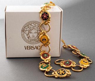 Versace Gold-Tone Enamel Medallion And Link Belt