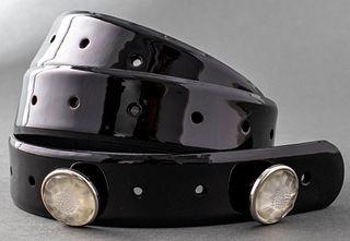 Lalique Black Patent Leather 'Fleur' Glass Belt
