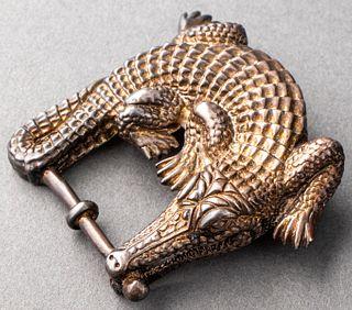 Kieselstein-Cord Silver Gator Buckle with a Belt