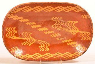 PA Yellow Slip Decorated Redware Oval Platter.