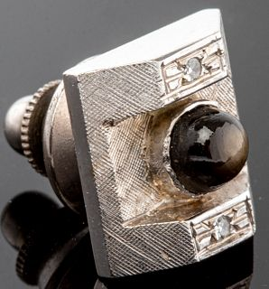 14K White Gold, Star Sapphire, & Diamond Tie Tack
