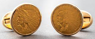 Orianne Collins 14K / 22K Gold US Coin Cufflinks