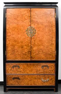 Chinoiserie Parcel Ebonized Burlwood Cabinet